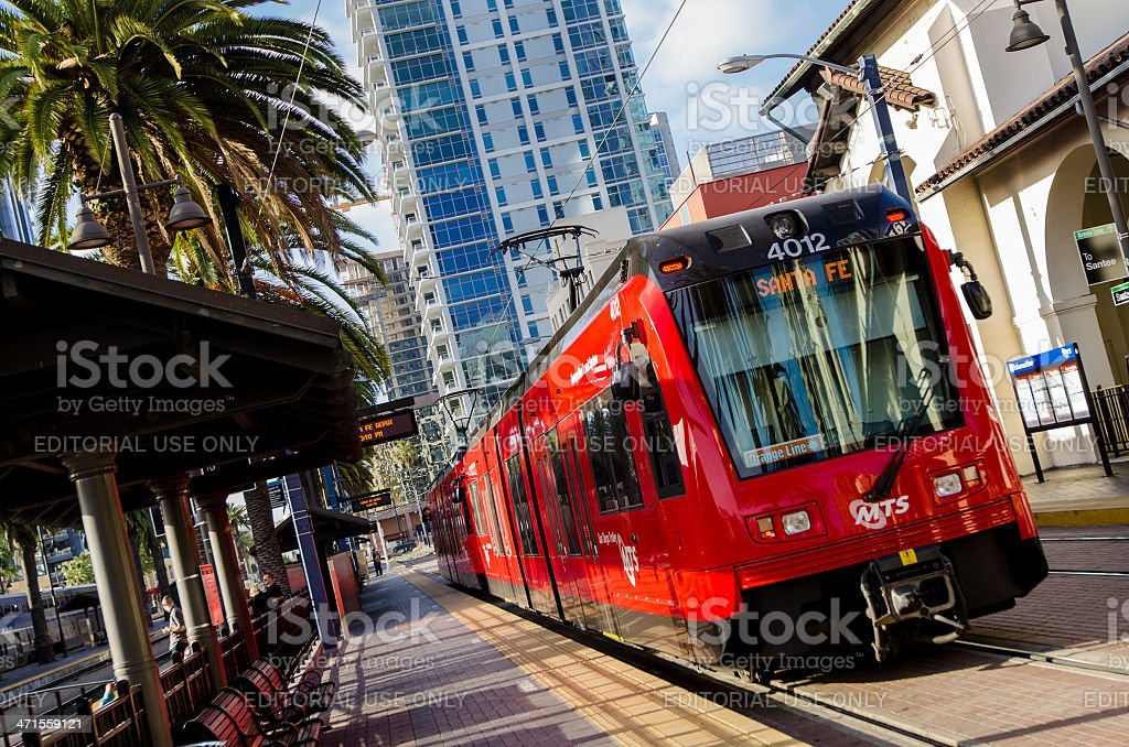 San Diego Trolley at station stock photo