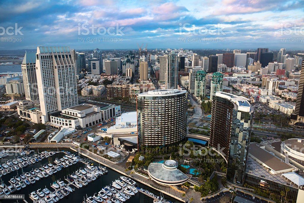 San Diego Waterfront and Skyline From Above stock photo