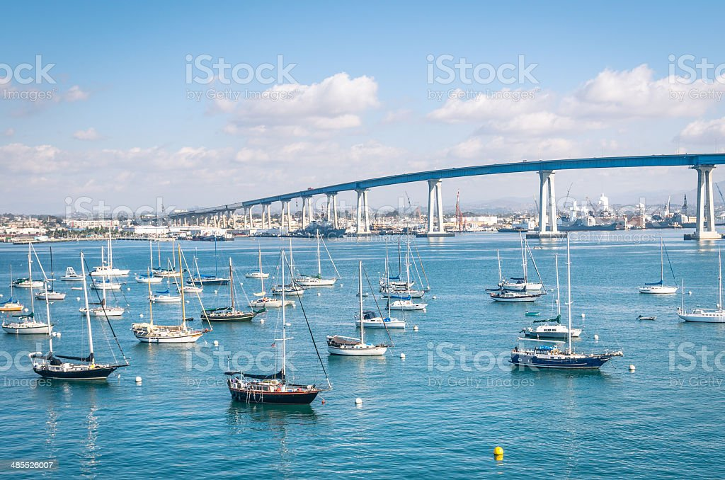 San Diego waterfront with sailing Boats stock photo