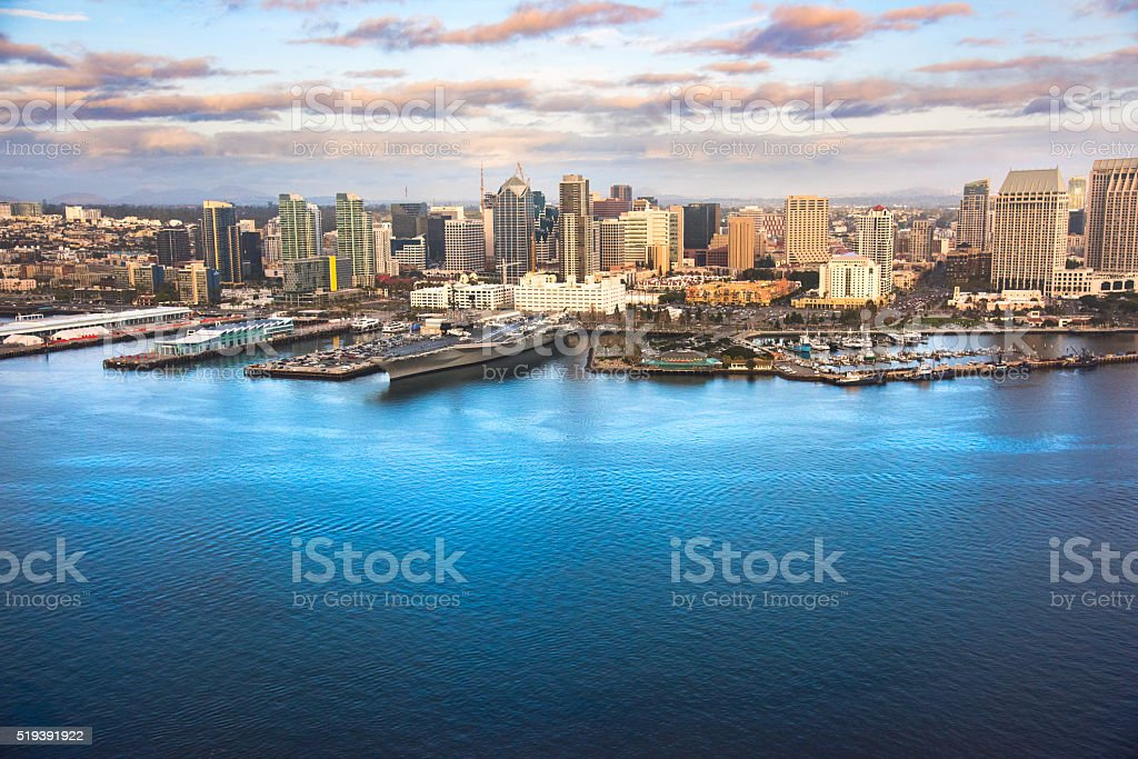 San Diego's Downtown Skyline From Over The Bay stock photo