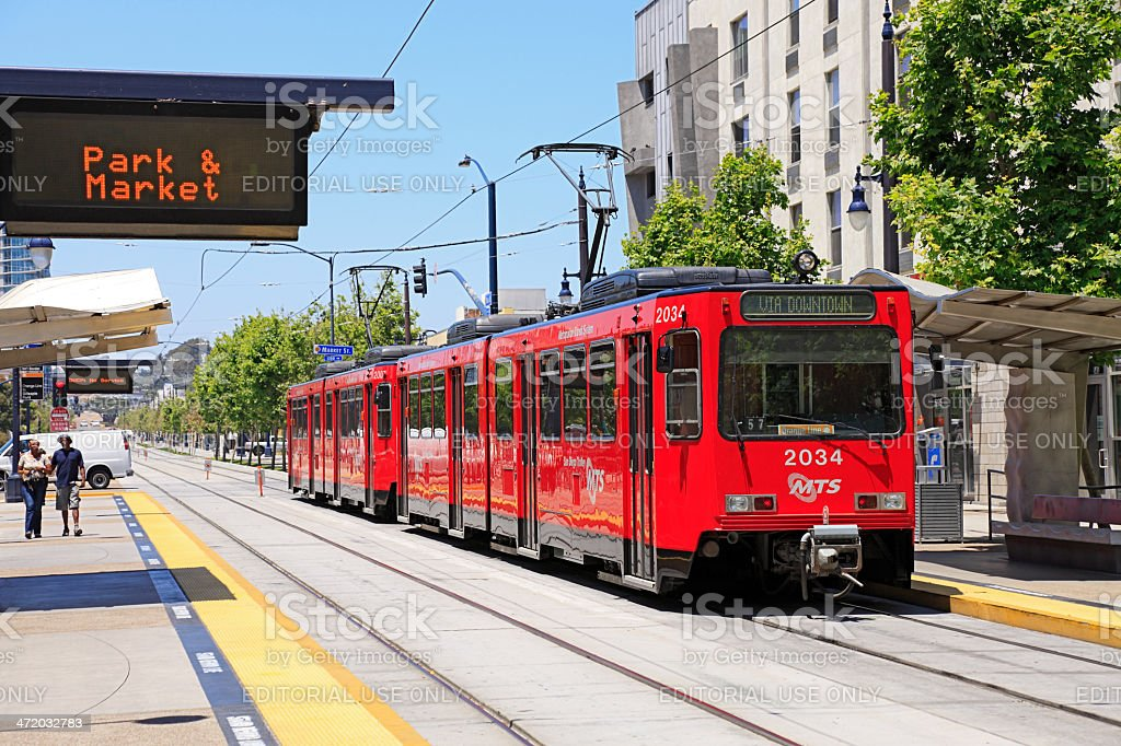 San Diego's famous Red Trolley passing thru Downtown stock photo