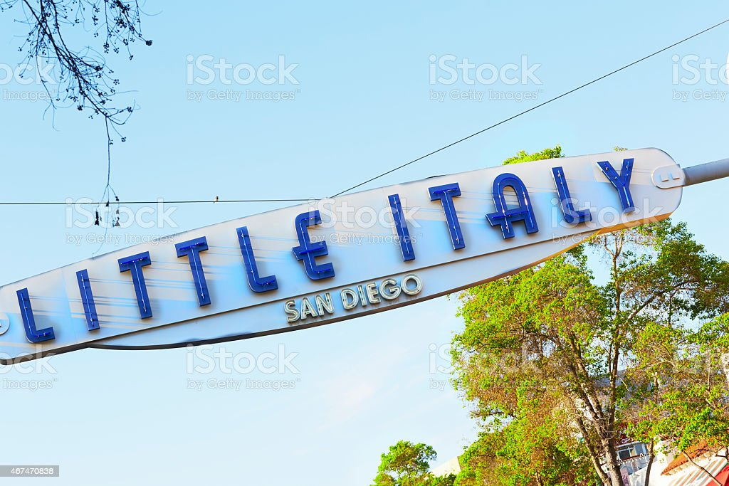 San Diego's Little Italy Entrance Sign stock photo