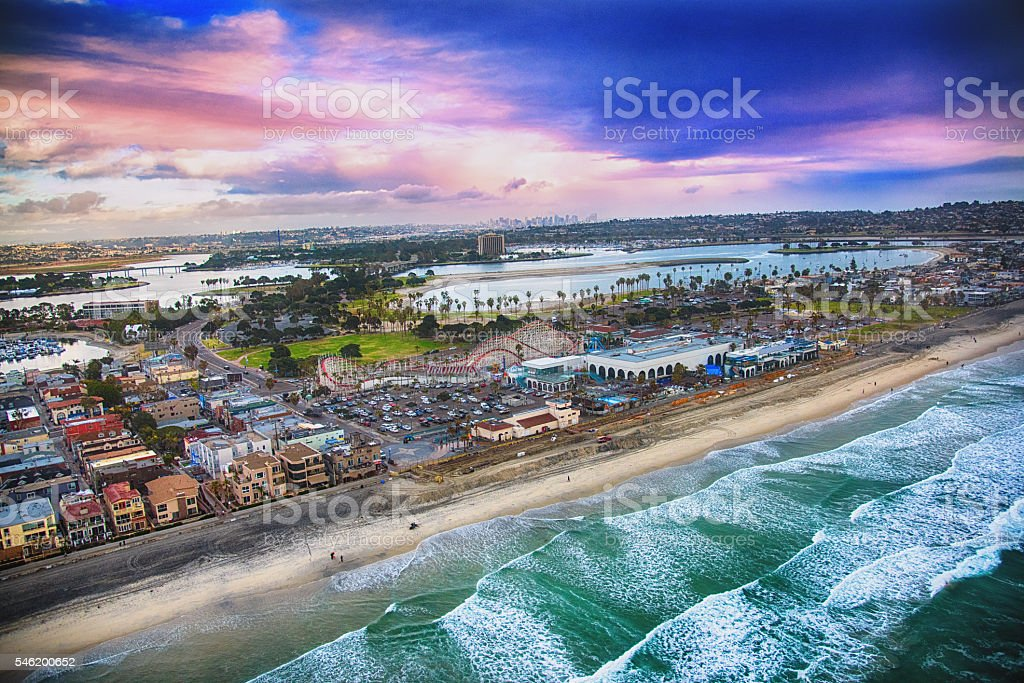 San Diego's Mission Beach Aerial View stock photo