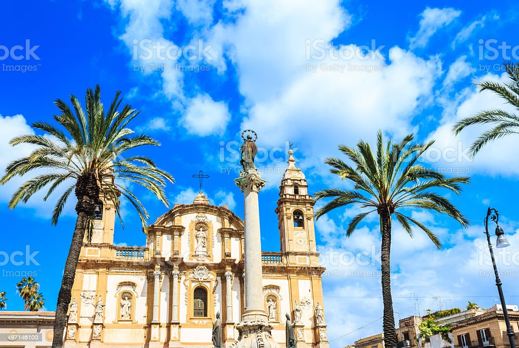 San Domenico church and square in Palermo, Sicily stock photo