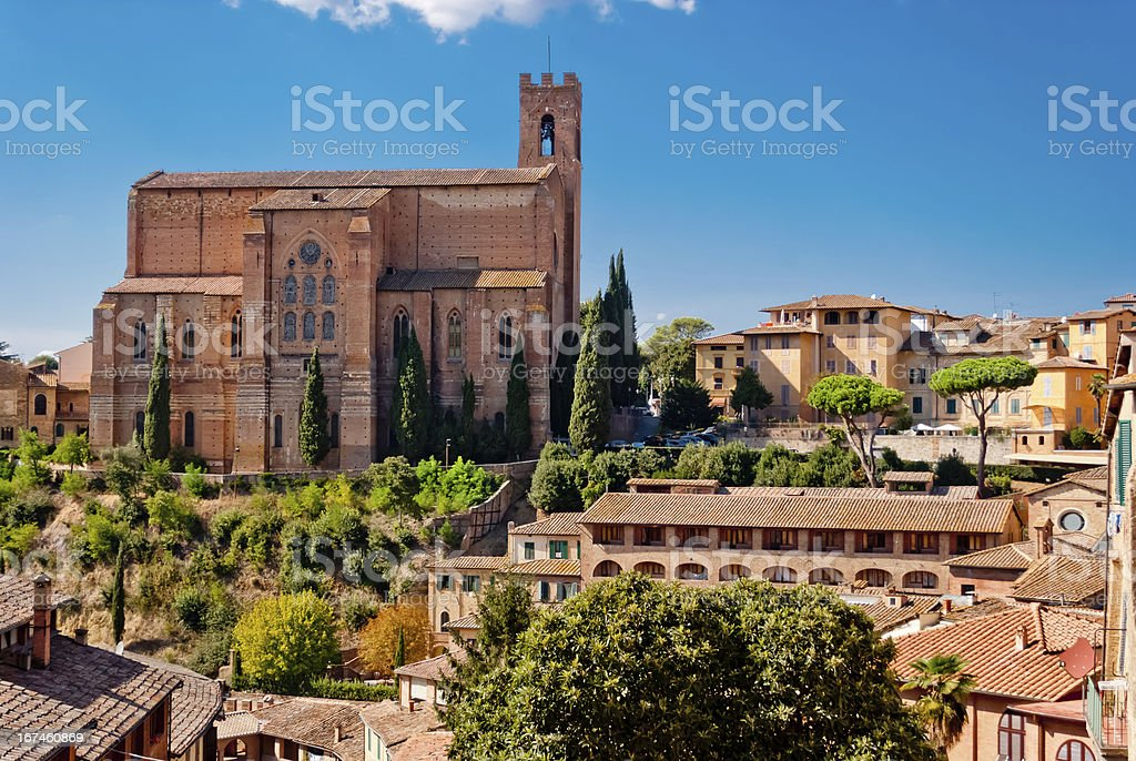 San Domenico church, Siena, Italy stock photo