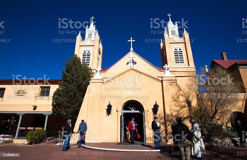 San Felipe de Neri Church, Parishioners Out Front, Albuquerque NM stock photo