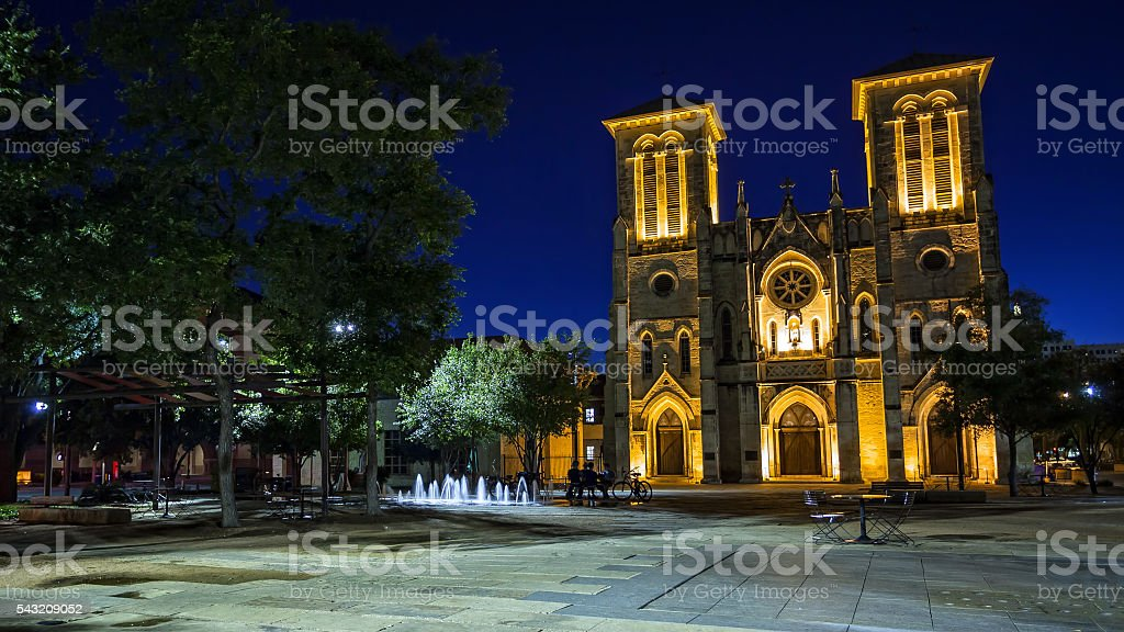 San Fernando Cathedral in San Antonio, Texas at Night stock photo