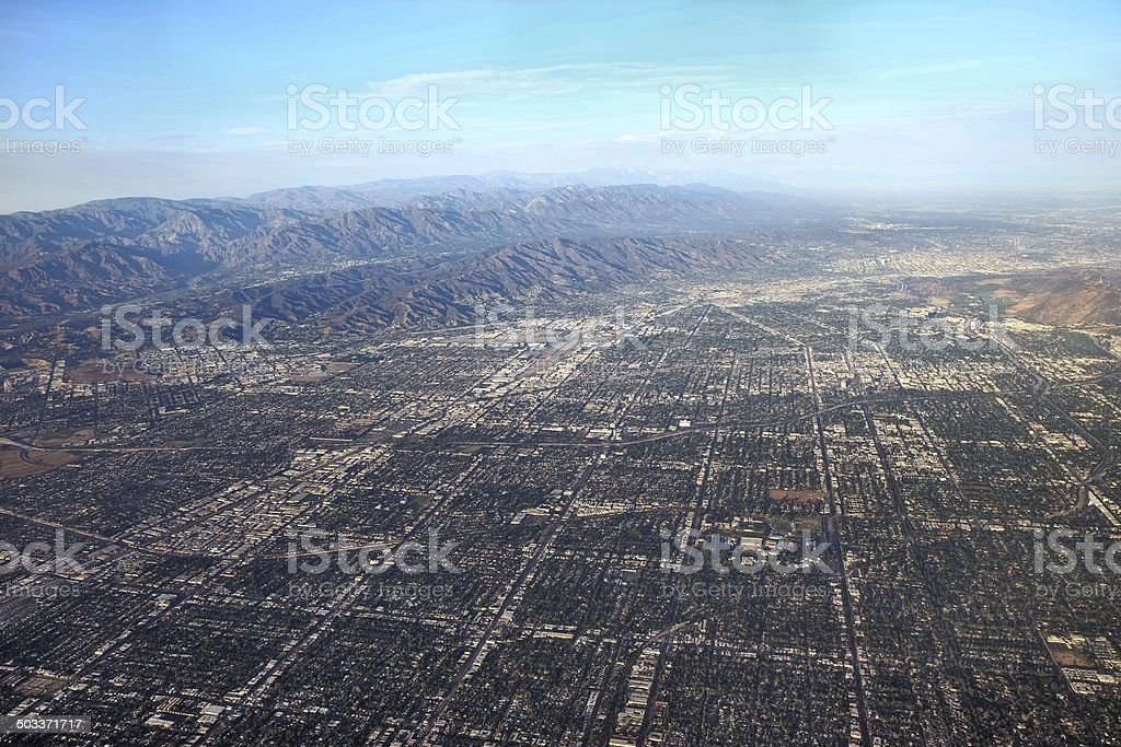 San Fernando Valley from the Air stock photo