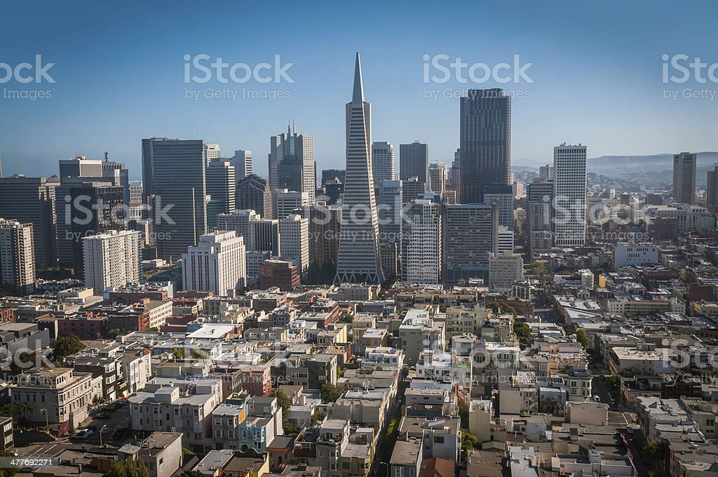 San Francisco aerial cityscape over downtown skycrapers Chinatown California USA stock photo