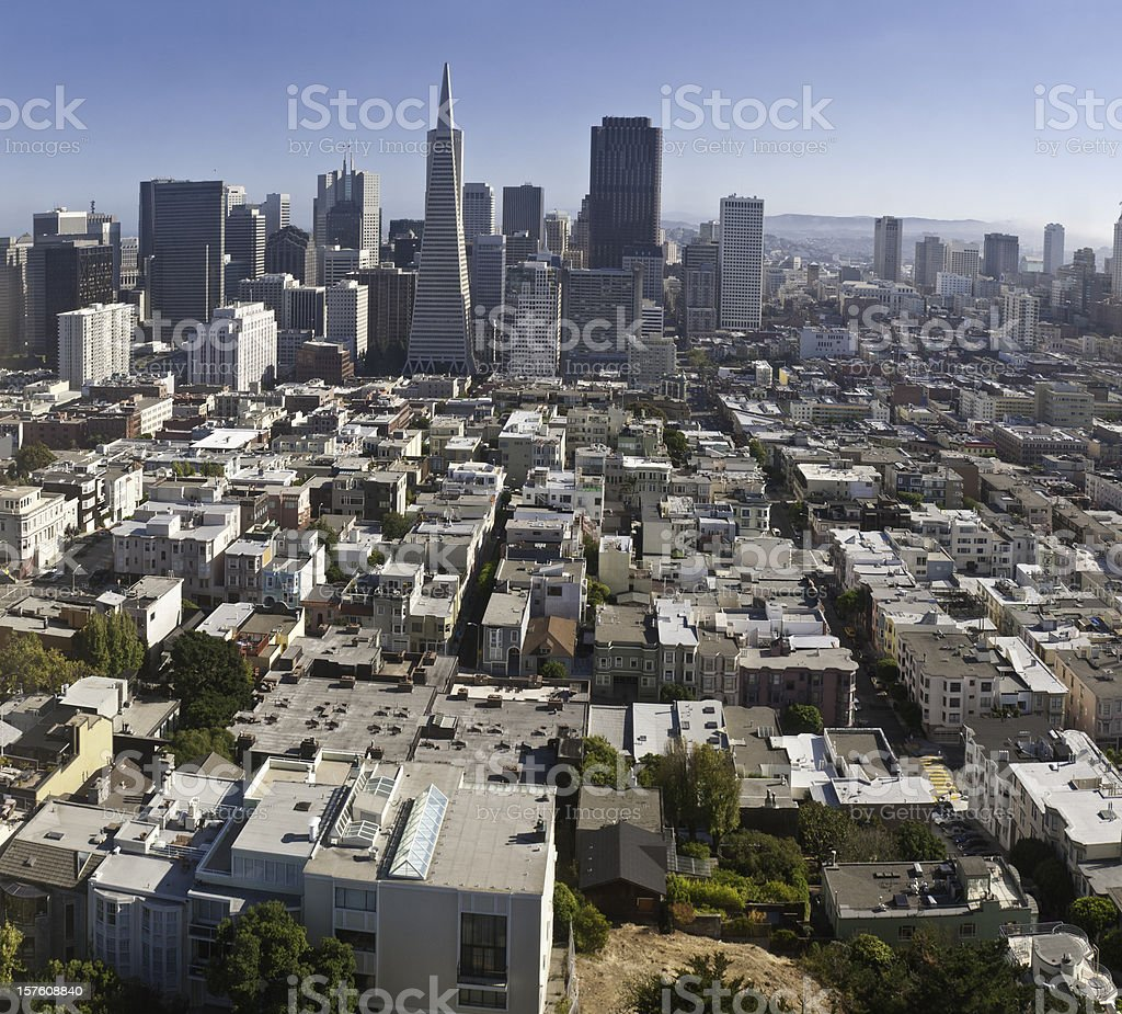 San Francisco aerial cityscape skyscrapers Financial District North Beach California royalty-free stock photo