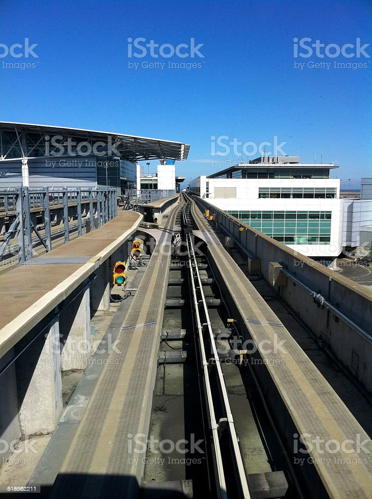 San Francisco Airport from Tram with Traffic Lights stock photo