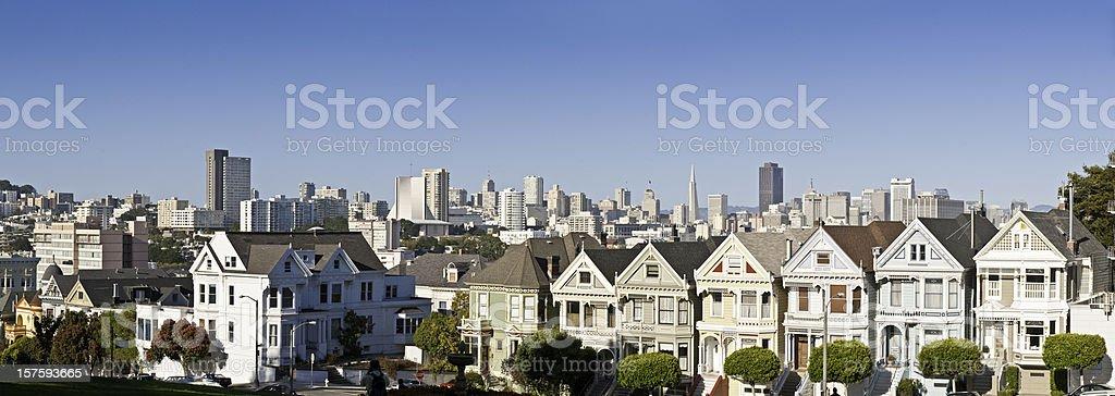 San Francisco Alamo Square ornate Victorian houses Postcard Row California royalty-free stock photo