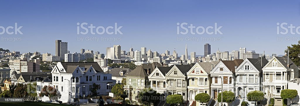 San Francisco Alamo Square ornate Victorian houses Postcard Row California stock photo