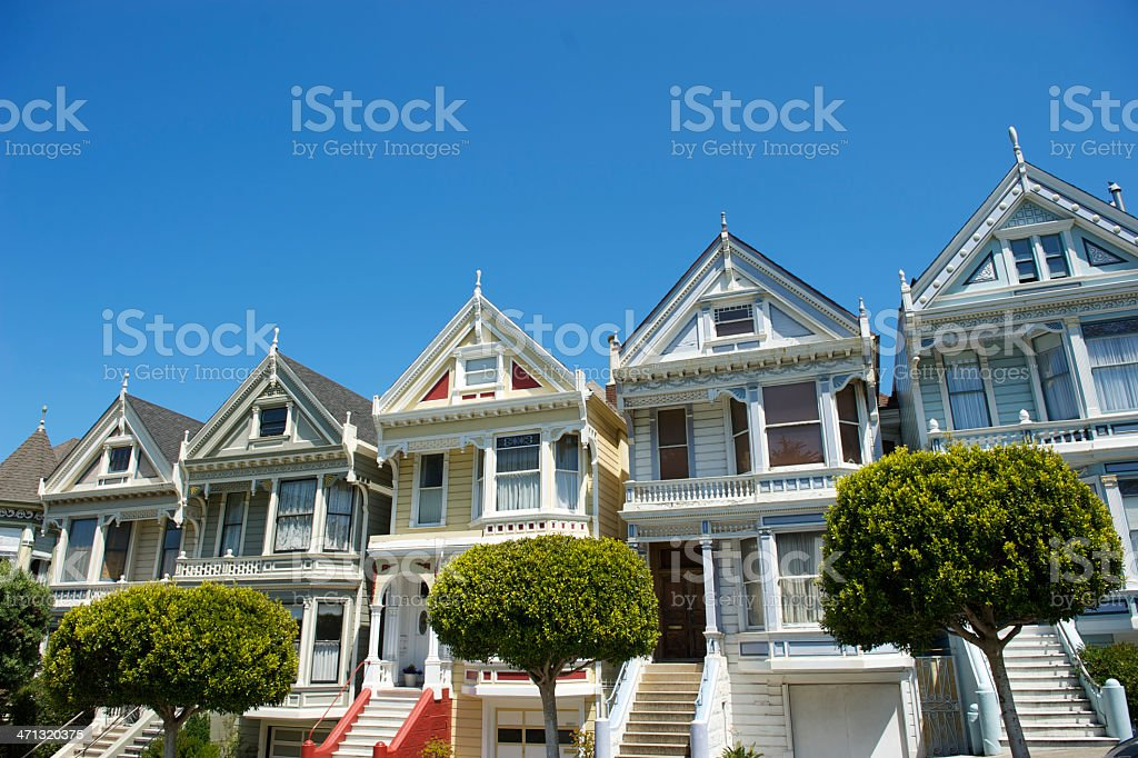 San Francisco Alamo Square Painted Ladies Row Houses stock photo