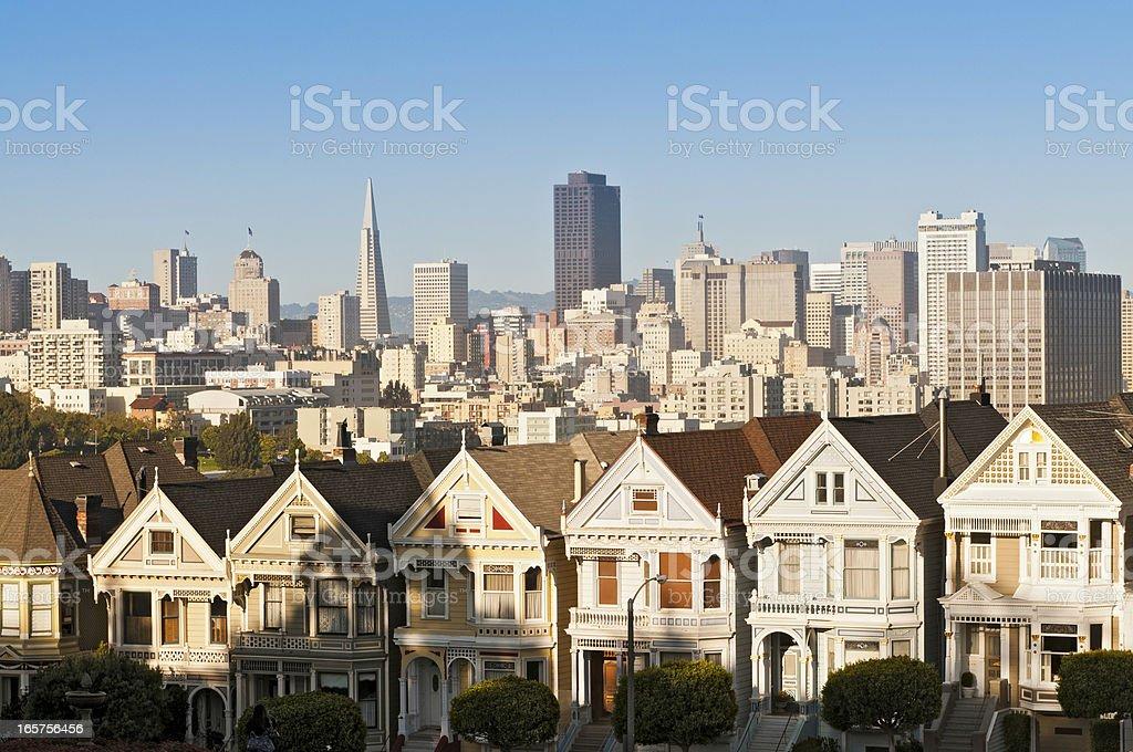San Francisco Alamo Square Painted Ladies Victorian Villas cityscape California stock photo
