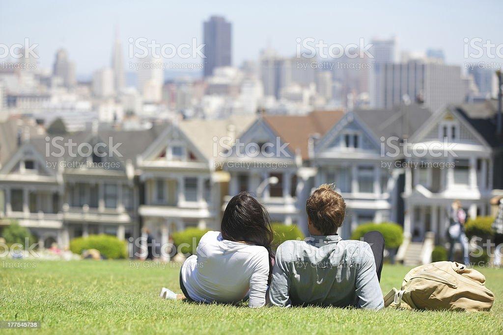 San Francisco - Alamo Square people stock photo