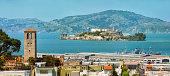 San Francisco Alcatraz island with panorama from telegraph hill area