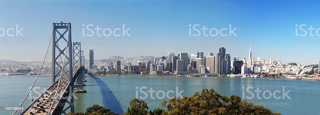 San Francisco and Bay Bridge Panorama stock photo