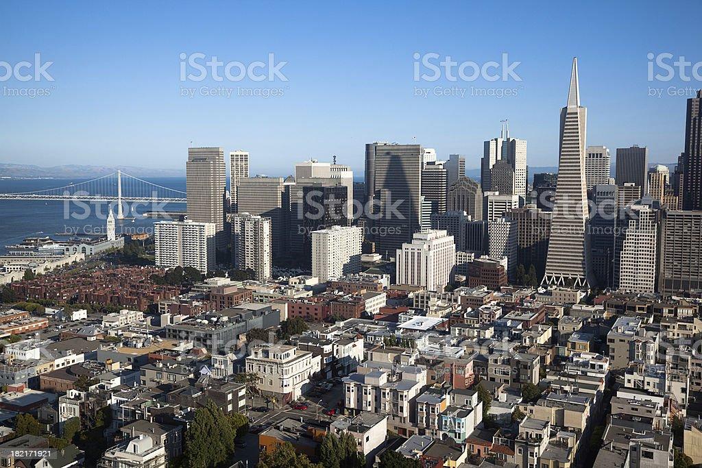 San Francisco and Bay Bridge royalty-free stock photo