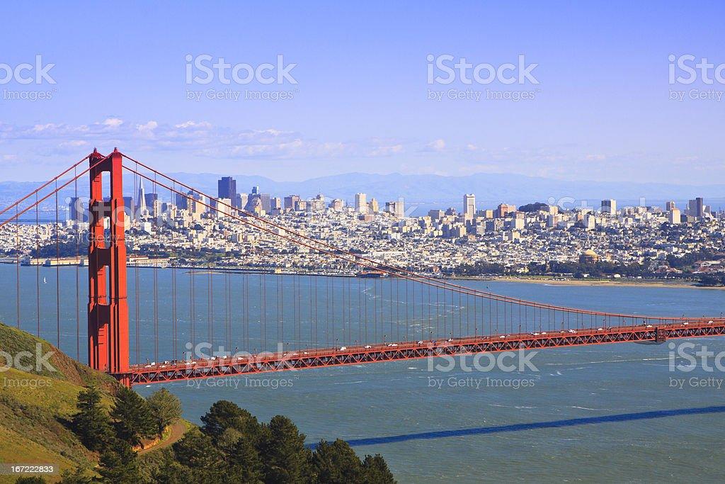 San Francisco and Golden Gate Bridge stock photo