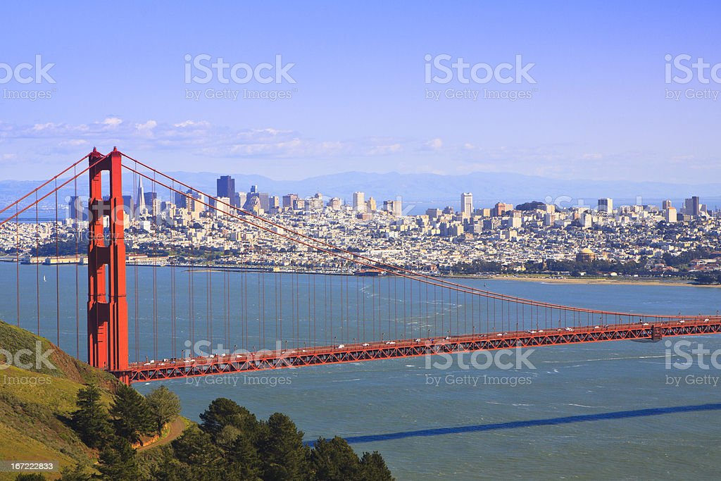San Francisco and Golden Gate Bridge stock photo