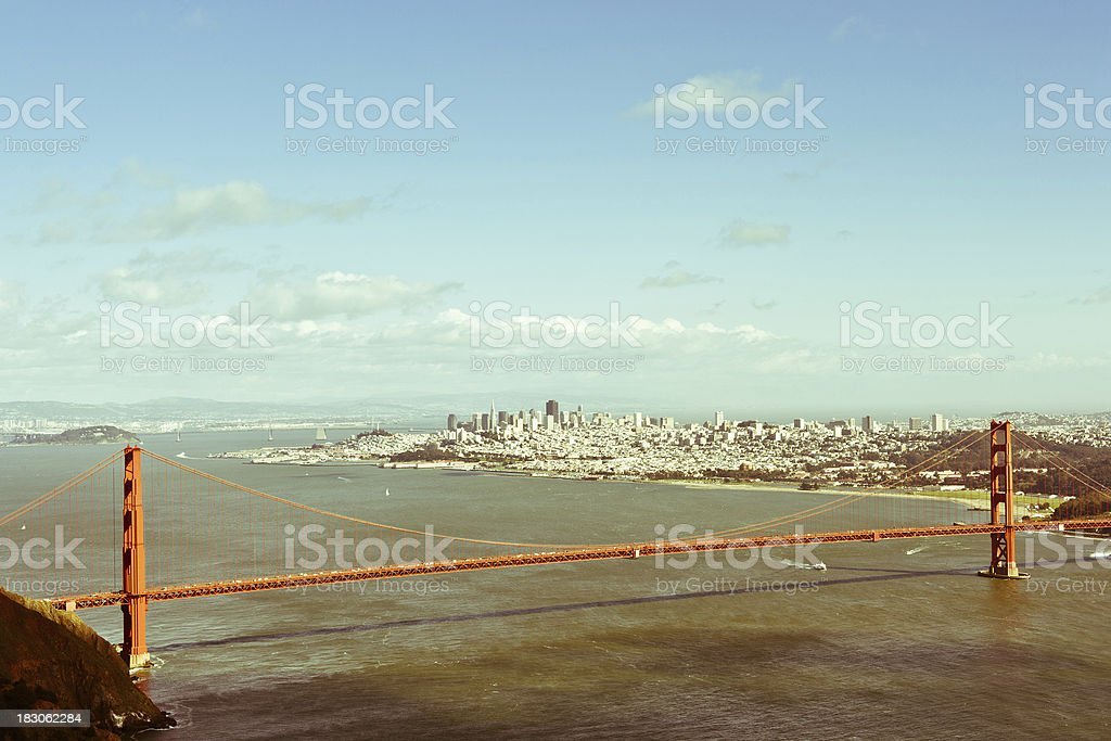 San Francisco and Golden Gate Bridge Scenics View Vintage Toned royalty-free stock photo