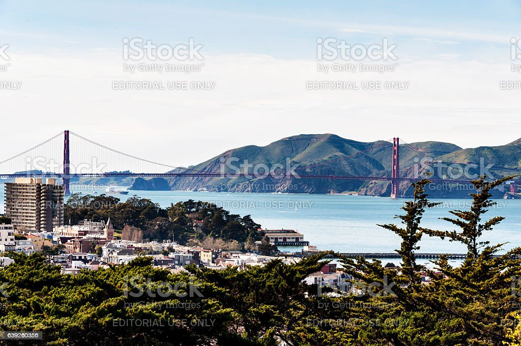 San Francisco and Golden Gate Bridge Views from Above stock photo