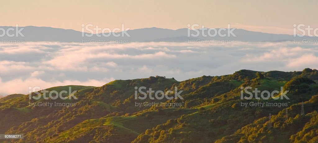 San Francisco Area: East Bay Hills in Morning Fog stock photo