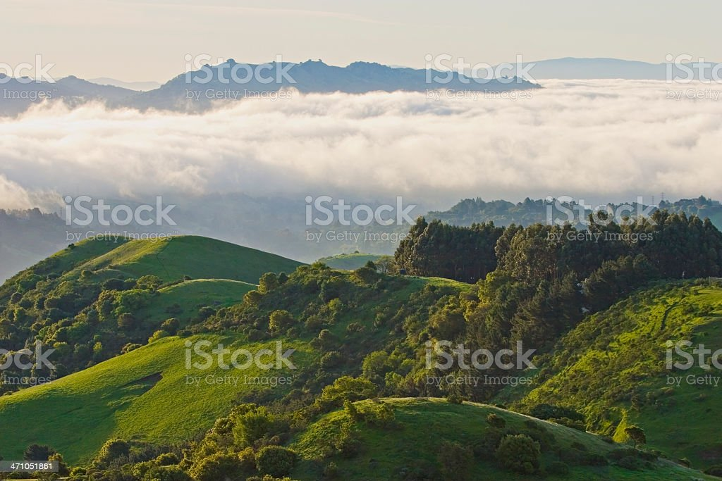 San Francisco Area: Fog and Green Springtime Hills stock photo
