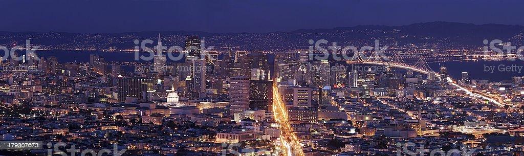 San Francisco at dusk - panoramic shot royalty-free stock photo
