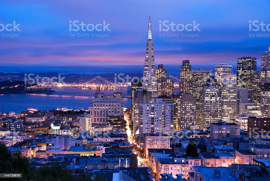 San Francisco at dusk stock photo