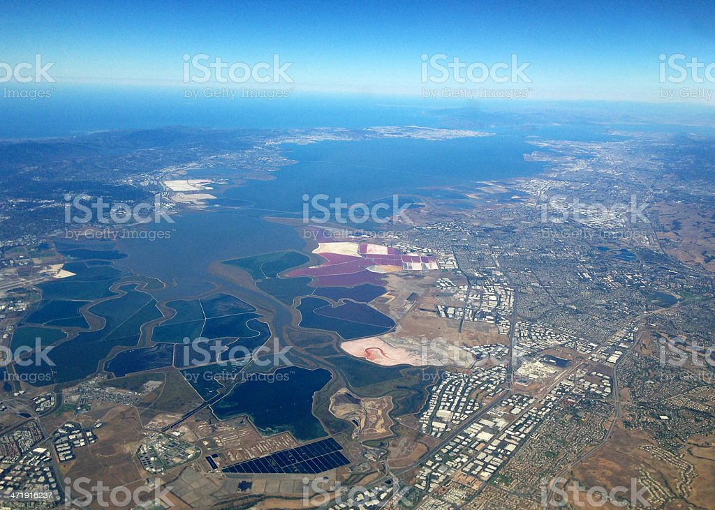 San Francisco Bay aerial view from south stock photo