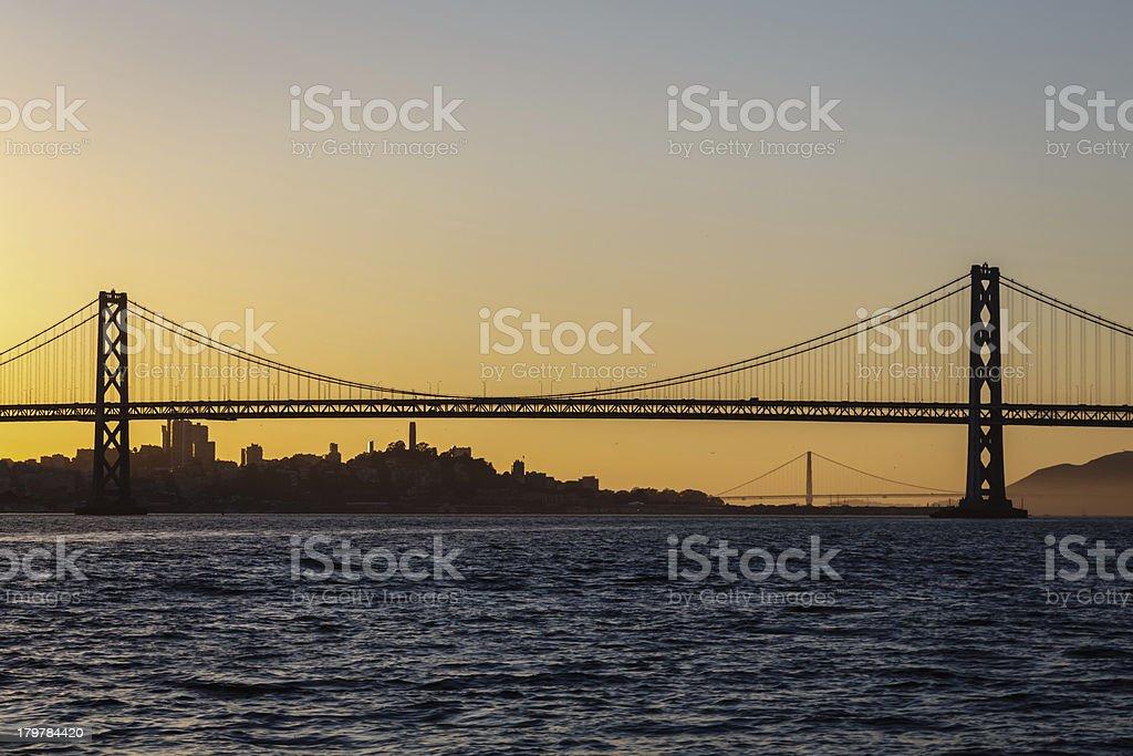 San Francisco Bay and Golden Gate Bridge at sunset royalty-free stock photo