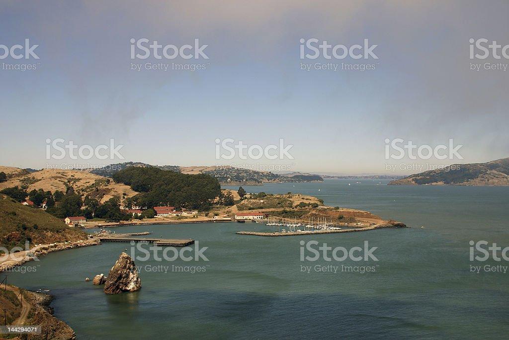 San Francisco bay area with yacht harbor stock photo