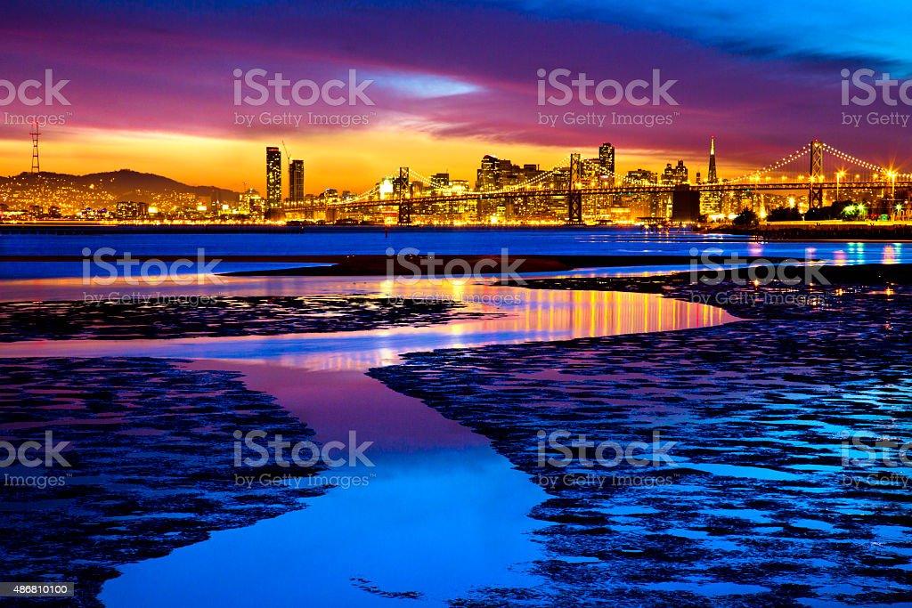 San Francisco Bay at Twilight stock photo
