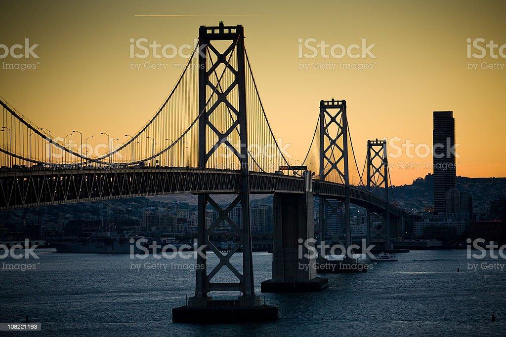 San Francisco Bay Bridge at Dusk royalty-free stock photo