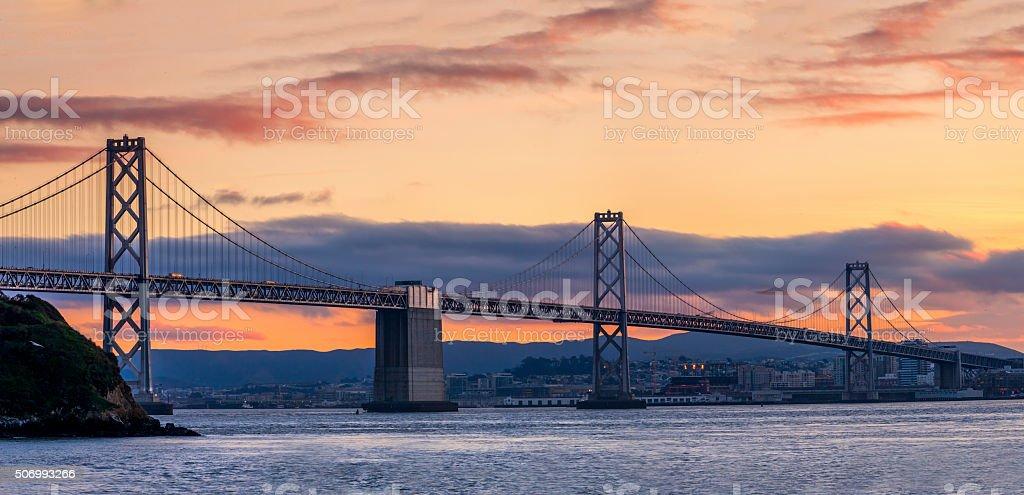 San Francisco Bay Bridge at night , California stock photo