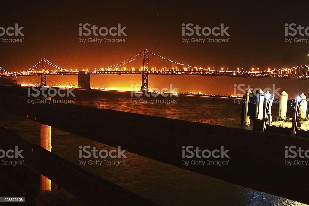 San Francisco Bay bridge at night stock photo