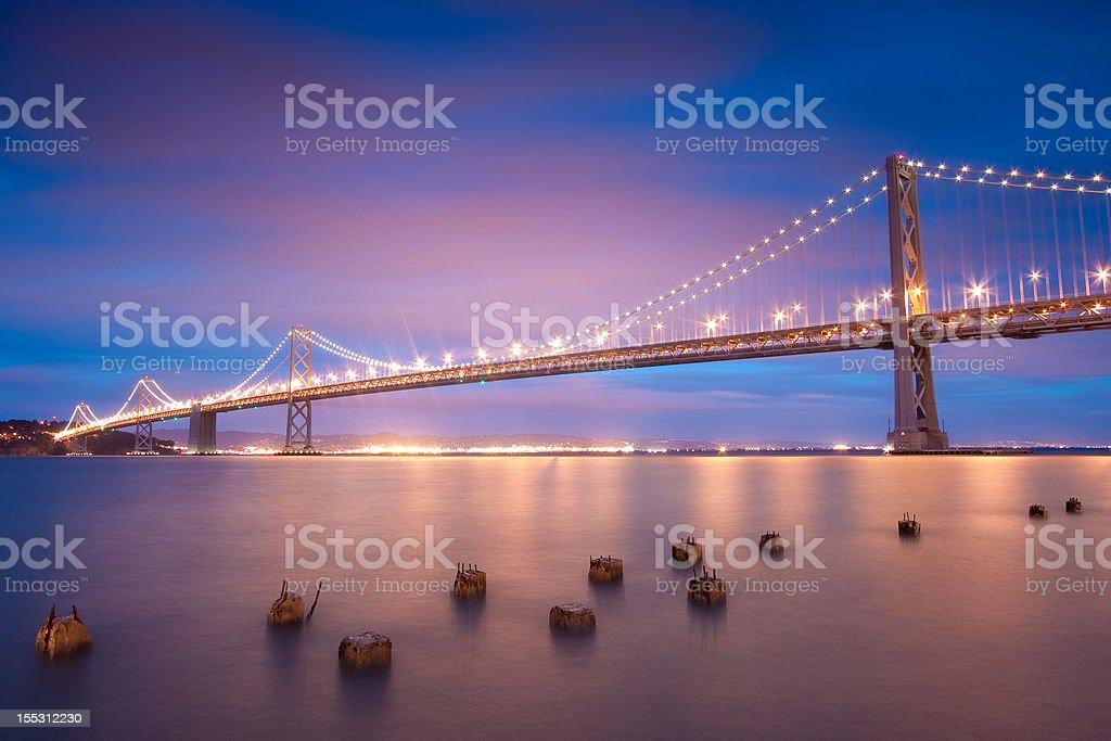 San Francisco Bay Bridge at Sunset royalty-free stock photo