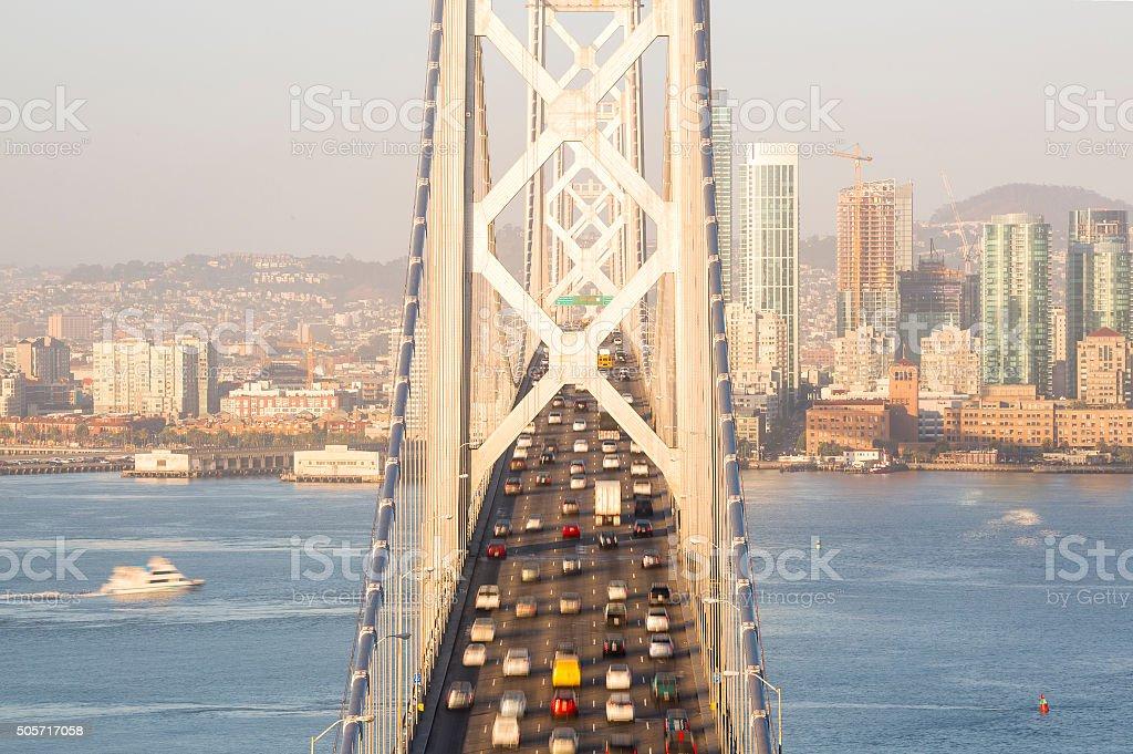 San Francisco Bay Bridge Traffic at Sunrise stock photo