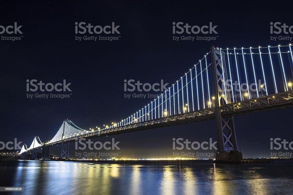 San Francisco Bay Bridge with LED Lights stock photo