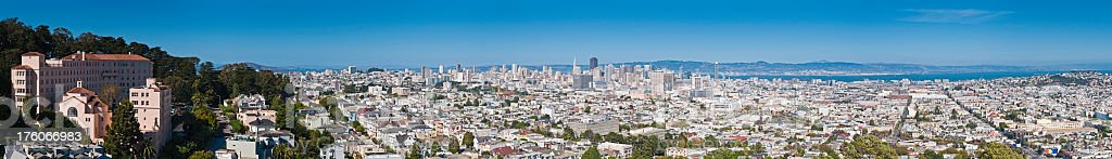 San Francisco bay downtown skyline city super panorama California royalty-free stock photo