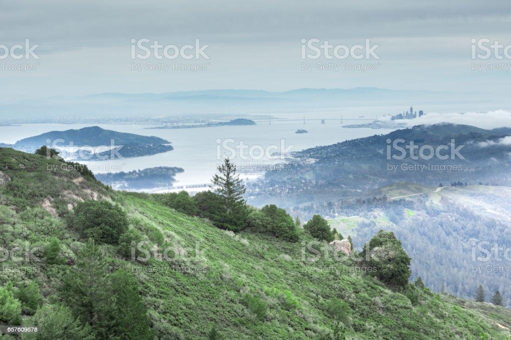 San Francisco Bay from Mount Tamalpais East Peak. stock photo