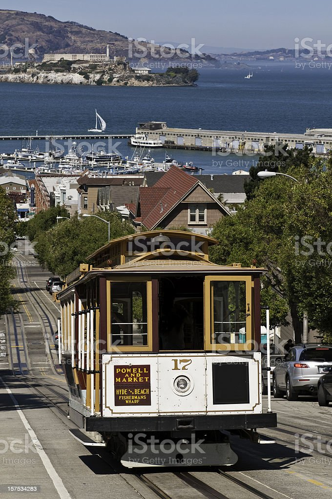 San Francisco bay historic cable car steep streets Alcatraz California stock photo
