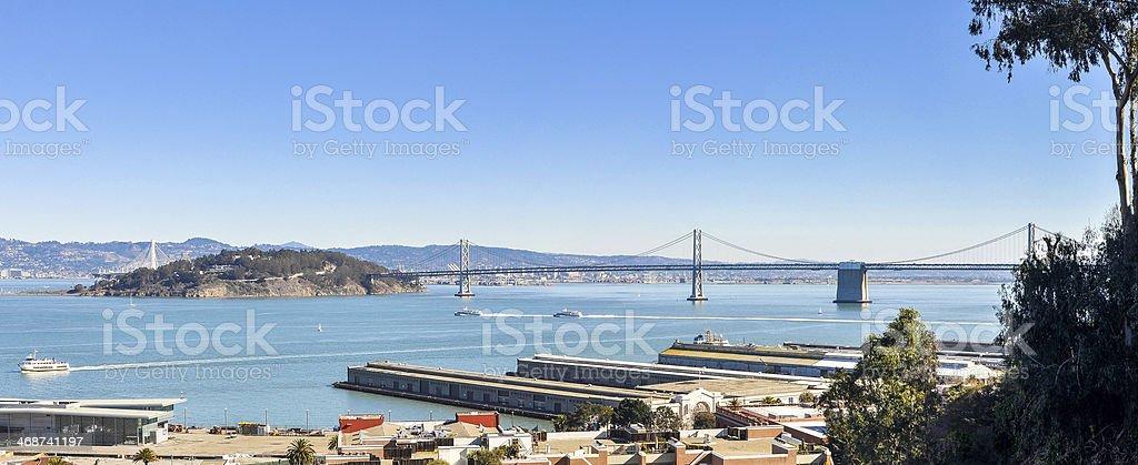 San Francisco Bay Panorama, View From Telegraph Hill stock photo