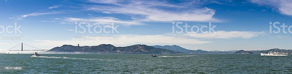 San Francisco Bay Sausalito Golden Gate Bridge boats ocean panorama royalty-free stock photo