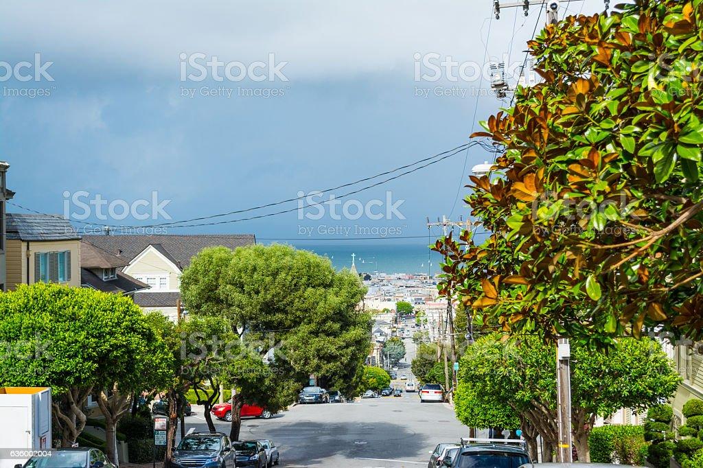 San Francisco bay seen from the city stock photo