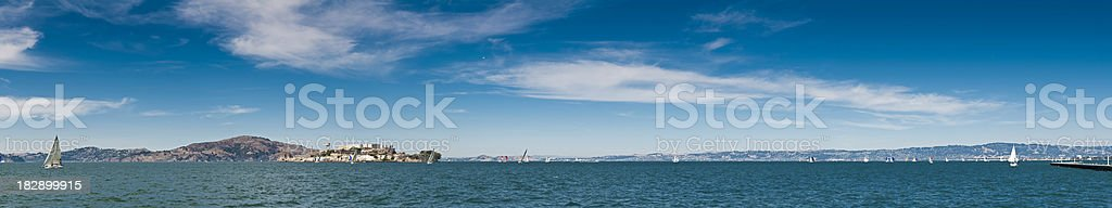San Francisco Bay super panorama yachts Alctatraz Pacific Ocean California royalty-free stock photo