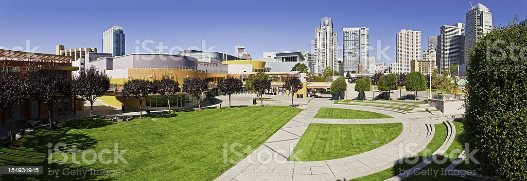 San Francisco Buena Vista gardens Moscone Center downtown skyscrapers California stock photo