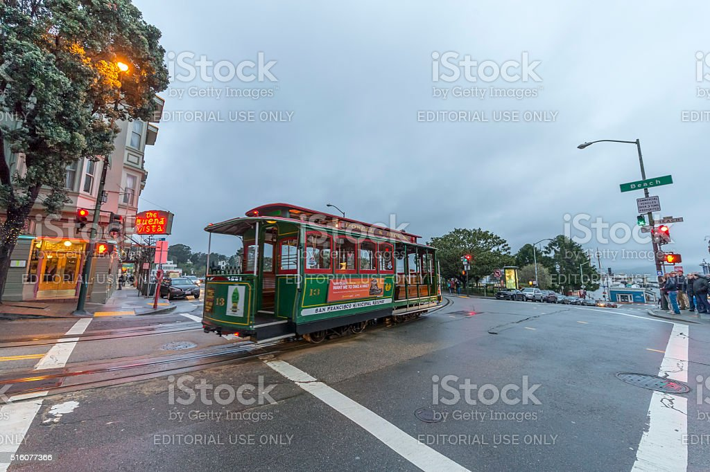 San Francisco Cable Car at Hyder Street after raining stock photo